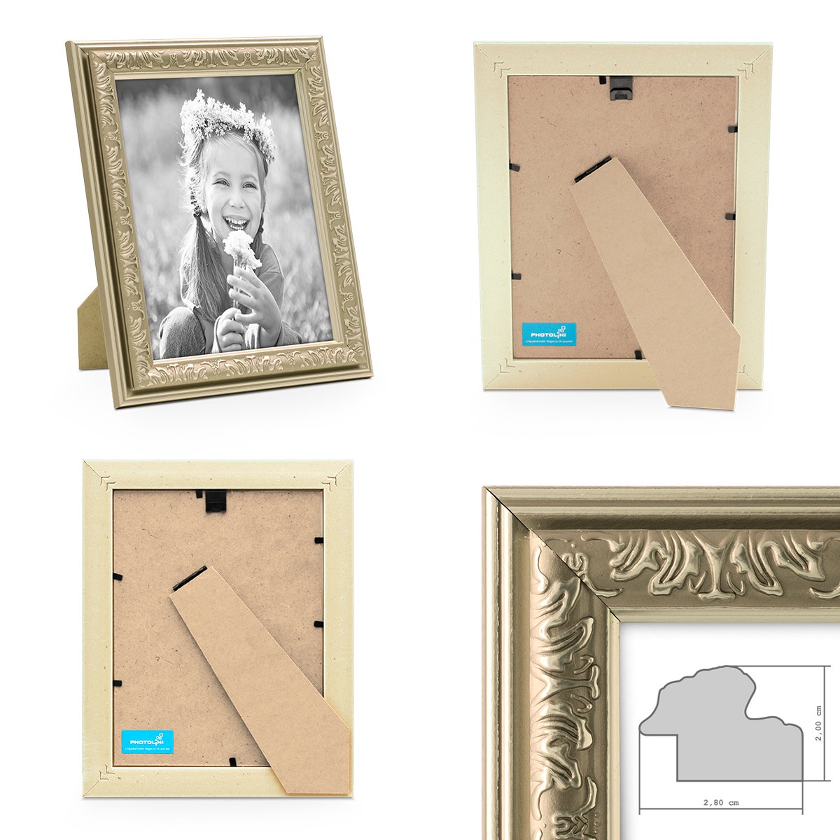 Amazon.de: PHOTOLINI Bilderrahmen Antik Silber Nostalgie 21x30 cm ...