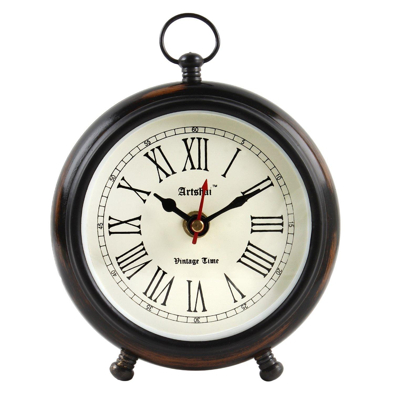 Artshai Antique look Round table Clock, Excellent Shelf clock …