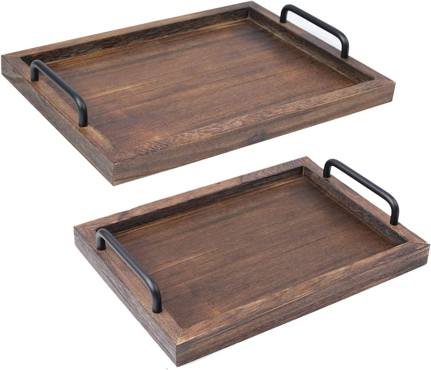 LIBWYS Rustic Wooden Serving Trays with Handle, Decorative Nesting Food Platters for Breakfast, Coffee Table/Butler, 2 Pack (Large 15.8 x 1.2 x 11.8 inches, Small 13.4 x 1.2 x 9.5 inches)