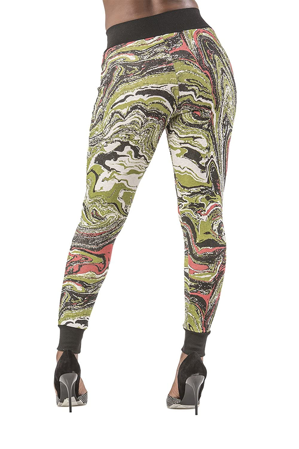 Poetic Justice Curvy Women鈥檚 French Terry Multi Marble Print Pull On Jogger Pant