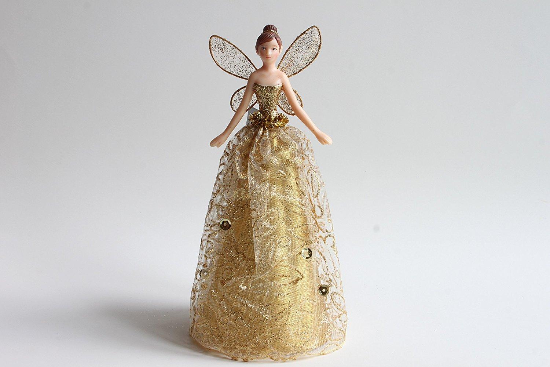 Puntale per albero di Natale con angelo dorato con gonna a fantasia (18cm) Gisela Graham