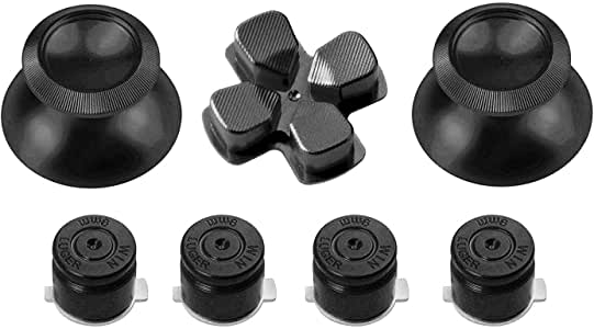 Gam3Gear Metal Aluminium Thumbstick D-Pad Bullet Button Mod Set For PS4 Controller Dark Gray