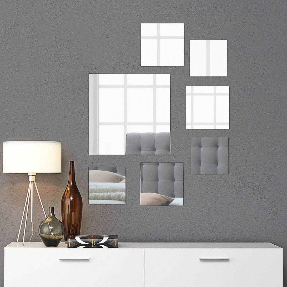 Light In the Dark Square Mirror Decor Set - 7 Square Wall Mirrors in Assorted Sizes: Large, Medium and Small - Wall Decoration for Living Room, Bedroom or Bathroom