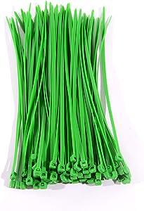 100 Pcs 8 Inch Heavy Duty Cable Ties Garden Fencing Ties Self Locking Zip Ties (Green)