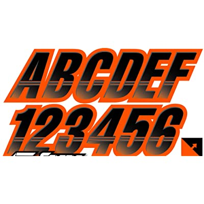 """Techtron Black/Orange 3"""" Alpha-Numeric Registration Identification Numbers Stickers Decals for Boats & Personal Watercraft: Automotive"""