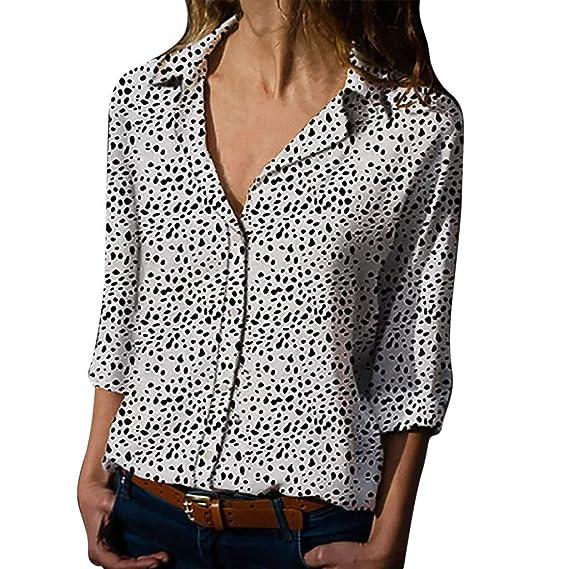 1f3d51ad6 Luckycat Blusa Mujer Camisetas Estampado De Leopardo BotóN Camisa Mujer  Manga Larga Botones Solapa Cuello Ropa Mujer Primavera Verano 2019   Amazon.es  Ropa ...