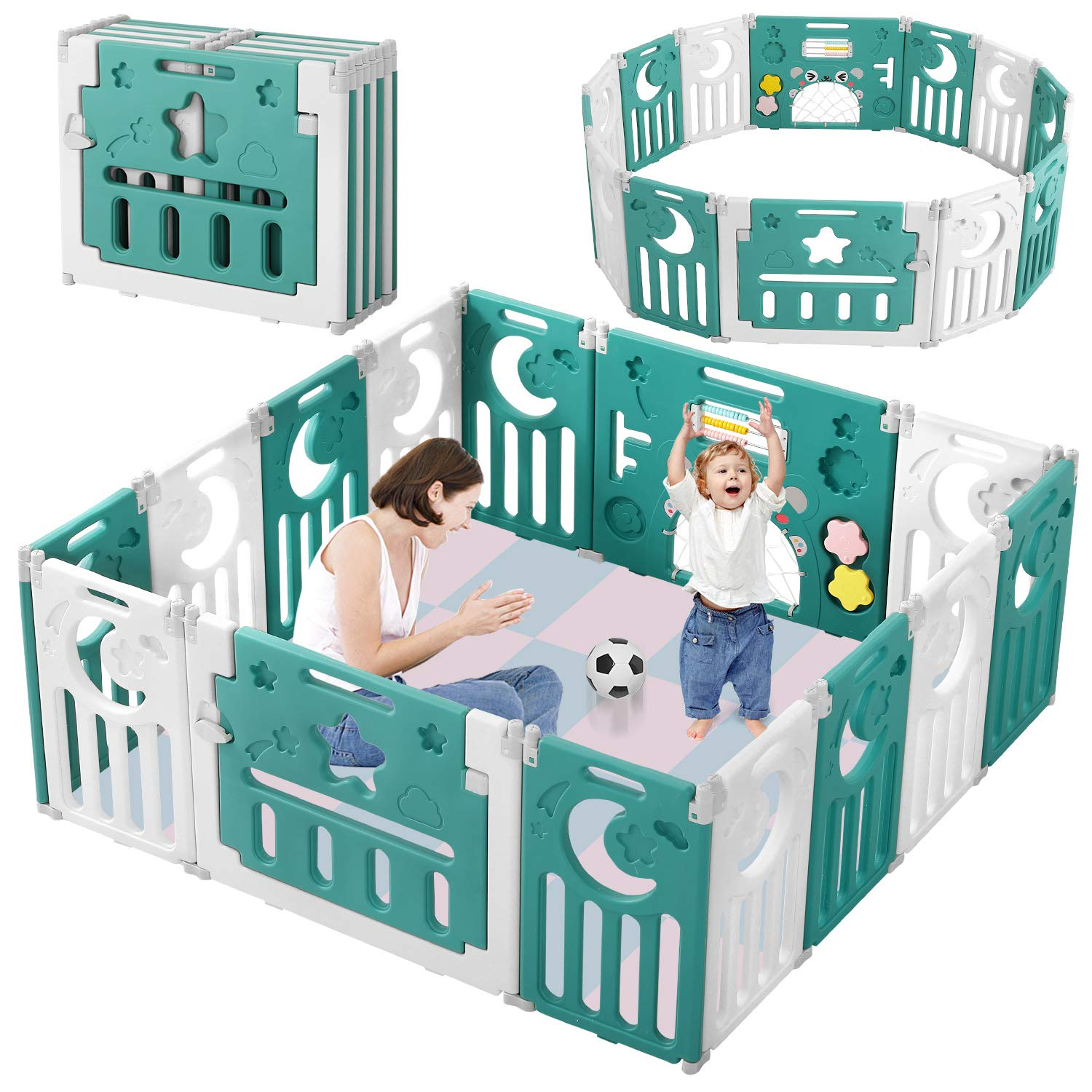 Baby Playpen, Dripex Upgrade Foldable Kids Activity Centre Safety Play Yard Home Indoor Outdoor Baby Fence Play Pen NO Gaps with Gate for Baby Boys Girls Toddlers (14 Panel, Neutral Green + White)