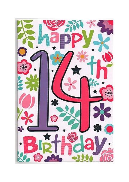 Tarjeta de cumpleaños para niña de 14 años, con mensaje en ...