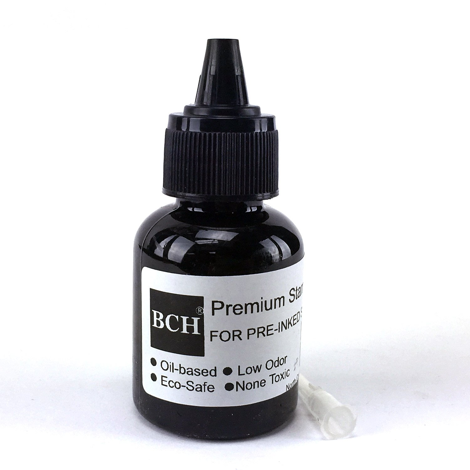 Black Stamp Refill Ink by BCH - Oil-Based 1 oz Bottle for Roller Stamp or Pre-Inked Rubber Gel Pads - 30ml by BCH (Image #2)