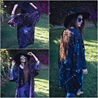 Kimono para mujer corto chaqueta negro abierto boho cardigan de mujer de vestir estampado fiesta de Constelaciones y…