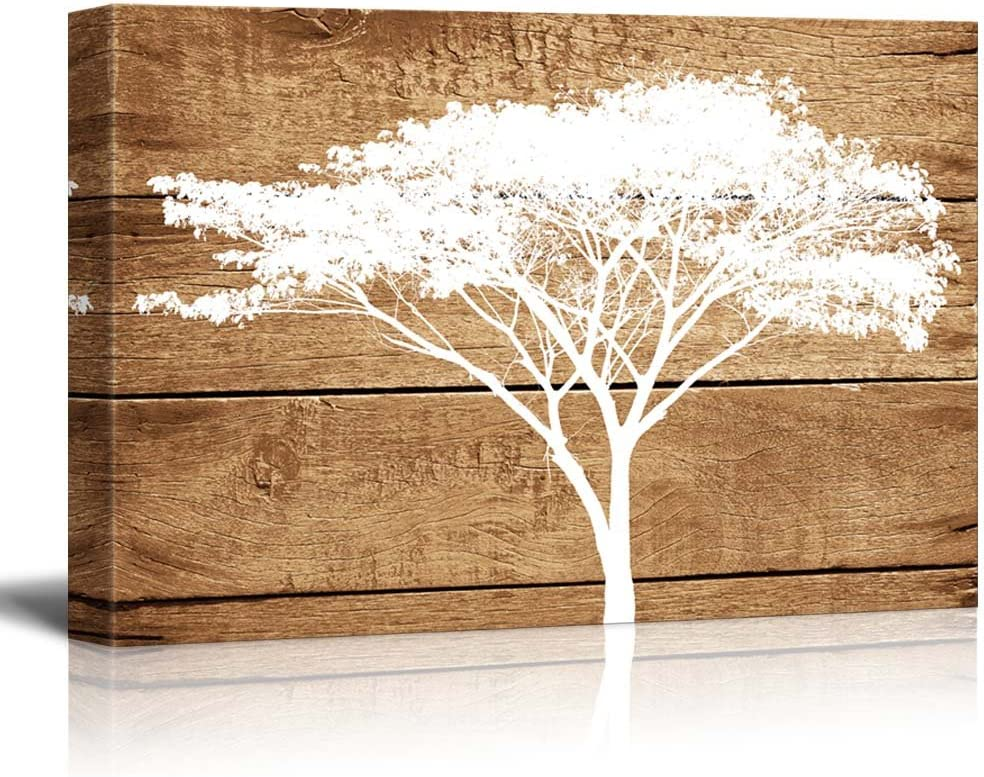 Canvas Prints Wall Art - Artistic Abstract Acacia Tree on Vintage Wood Background - 24