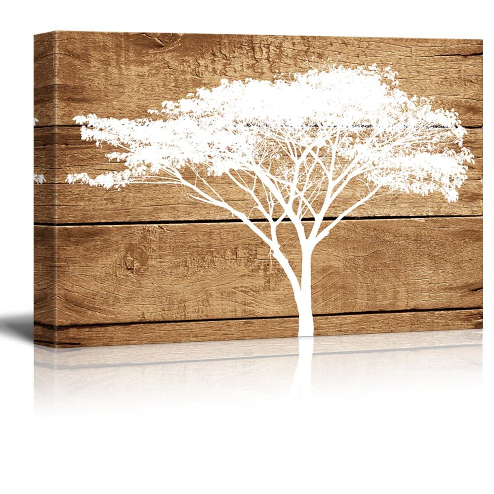 wall26 Canvas Prints Wall Art - Artistic Abstract Acacia Tree on Vintage Wood Background - 24'' x 36''