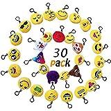 Okaytec Portachiavi Emoji - Regalo Compleanno dei Bambini Portachiavi Decorazioni Personalizzare Zaino di Scuola per Bambini - 30 pz