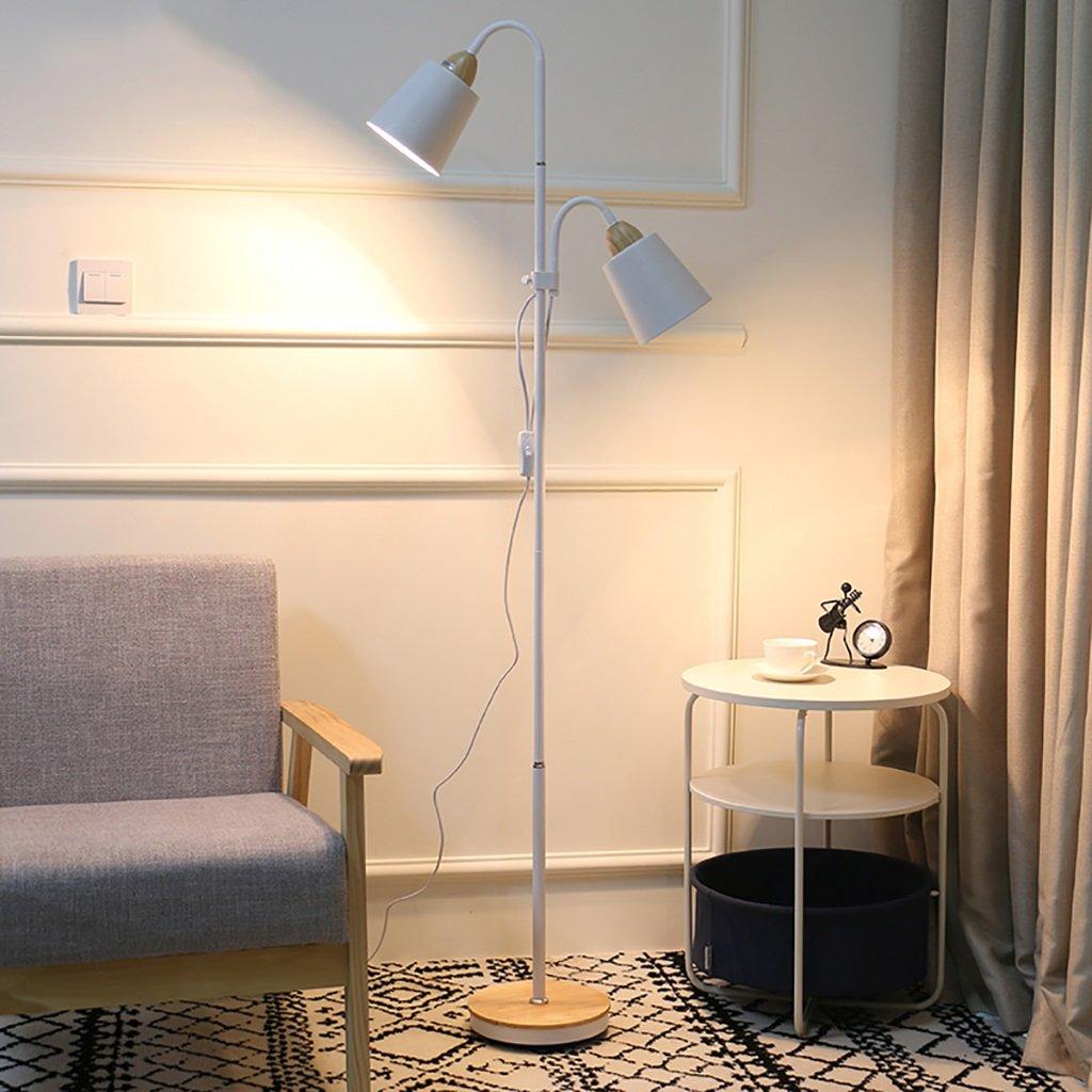 FGLDD Doppelkopf-Stehlampe/Moderne minimalistische LED-Augen-Lesestehlampe/Studie Wohnzimmer Schlafzimmer Nachttisch vertikale Stehlampe (Farbe : Weiß)