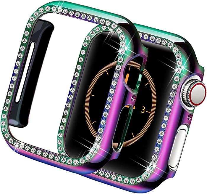 Yolovie Case Compatible for Apple Watch SE Series 6 5 4 40mm Colorful Bling Cases Diamond Rhinestone Bumper Shiny Crystal Protector Cover iWatch Frame for Women Girl (Colorful, 40mm)