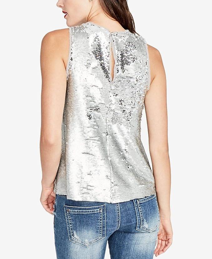 93a6379f45b640 RACHEL Rachel Roy Women s Small Sequin Tank Top Silver S at Amazon Women s  Clothing store