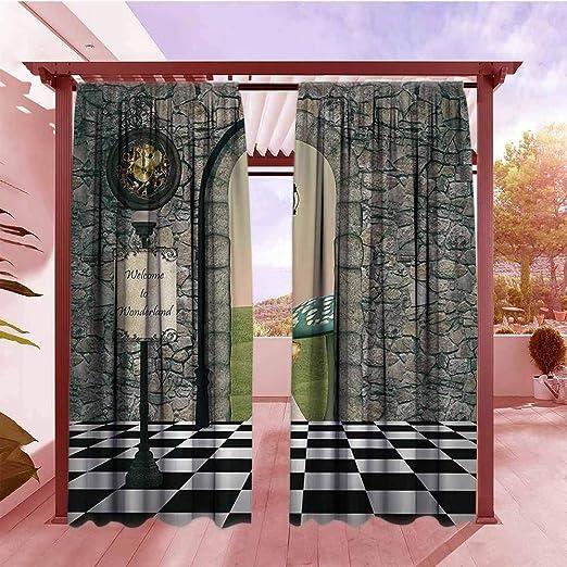 AndyTours - Cortina para Puerta corredera, diseño Vintage Inspirado en Figuras étnicas de Ikat con características geométricas diagonales, Bordes Folk, Artsy, Cuadros, Varios Bloques: Amazon.es: Jardín