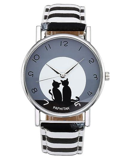 jsdde Relojes, Fashion Cute Dibujos Animados Gato Gatos Reloj de Pulsera Mujer Reloj Ladies Dress de Cuero PU analógico Reloj de Cuarzo, Zebra: Amazon.es: ...