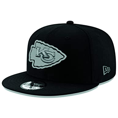 buy popular 3bd0d 7fad4 Image Unavailable. Image not available for. Color  New Era Authentic Kansas  City Chiefs Black Gray Logo NFL 9Fifty Snapback Cap ...