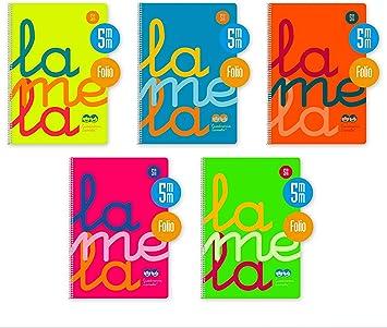 Bloc Lamela Fº fluor PP 80 hojas Cuadrícula 3mm 90g (Pack de 5 Libretas): Amazon.es: Oficina y papelería