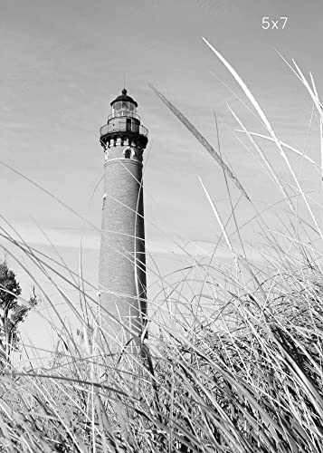 Little sable lighthouse photo print black and white michigan art photography large canvas picture