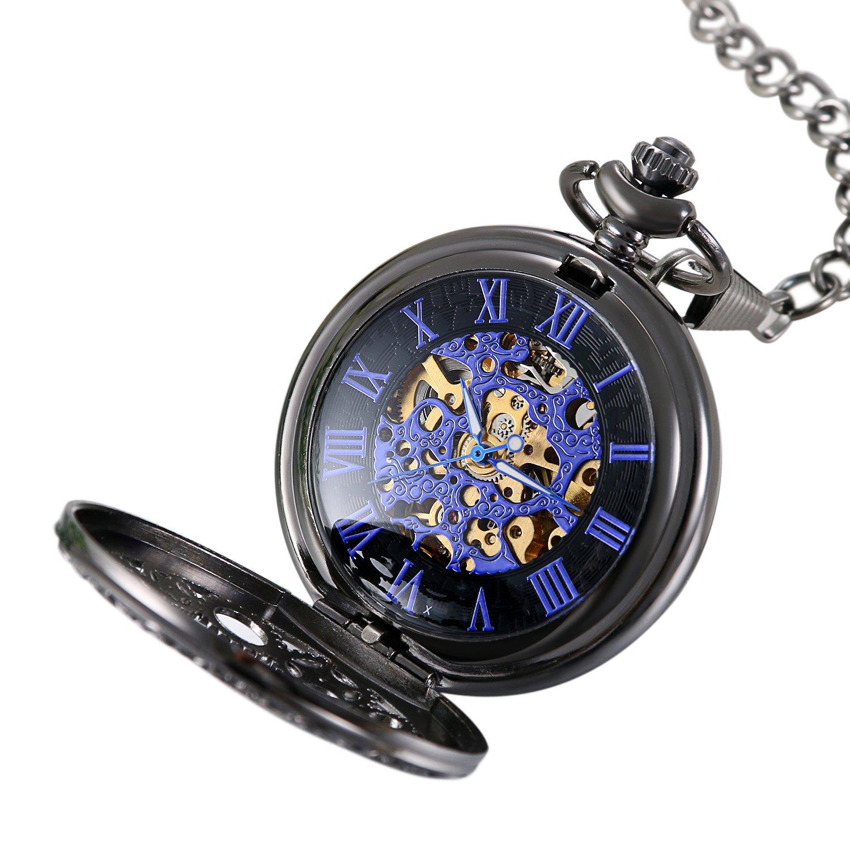 Avaner Reloj de Bolsillo Mecánico Steam Punk Reloj de Hunter Negro Reloj de Engranajes Transparente, Retro Vintaeg Reloj de Regalo Original para Hombre ...
