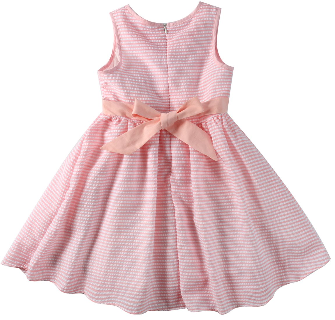 Sharequeen Striped Cotton Big Girls Summer Dress Dog Bird Cat Embroidery Pink Color A090(Pink Stripe, 6 Years) by Sharequeen (Image #2)