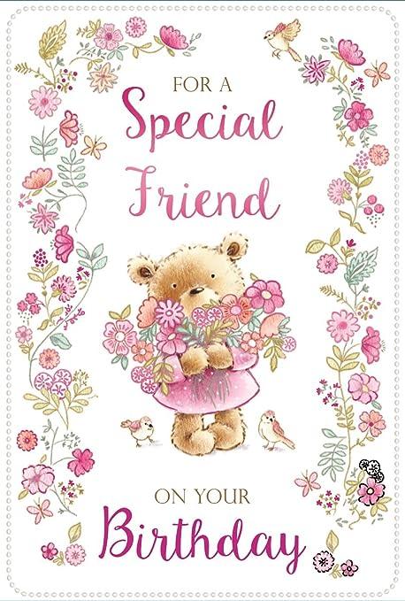 Tarjeta de cumpleaños amigo especial de oro - oso con letras ...