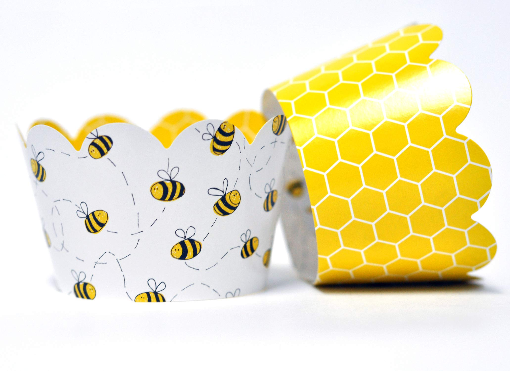 Honey Bee Cupcake Wrappers for Gender Reveal, Birthday Parties, Bridal Showers, Baby Showers, or Backyard Summer gatherings. Set of 24 Honey Bee Scalloped Cup Cake Holder Wraps. Yellow, Black by Toula Products