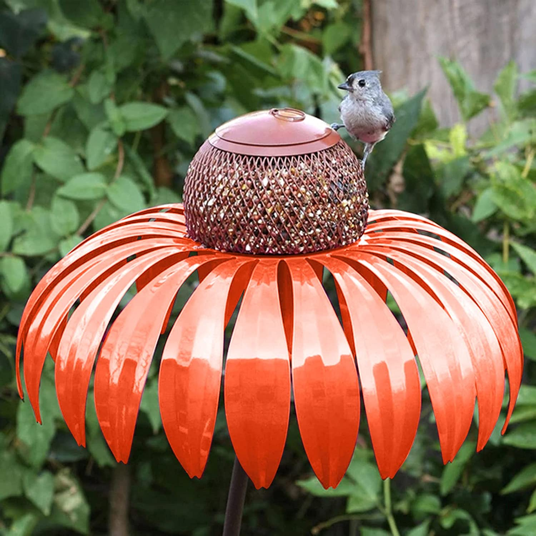 Pimea Bird Feeder,Bird Feeders Outdoor Squirrel Proof,Flower Bird Feeder,Pole Bird Feeder,Sensation Pink Coneflower Bird Feeders,Unbreakable Bird Feeder,Bright Red, Backyard Feeder,Garden Decoration