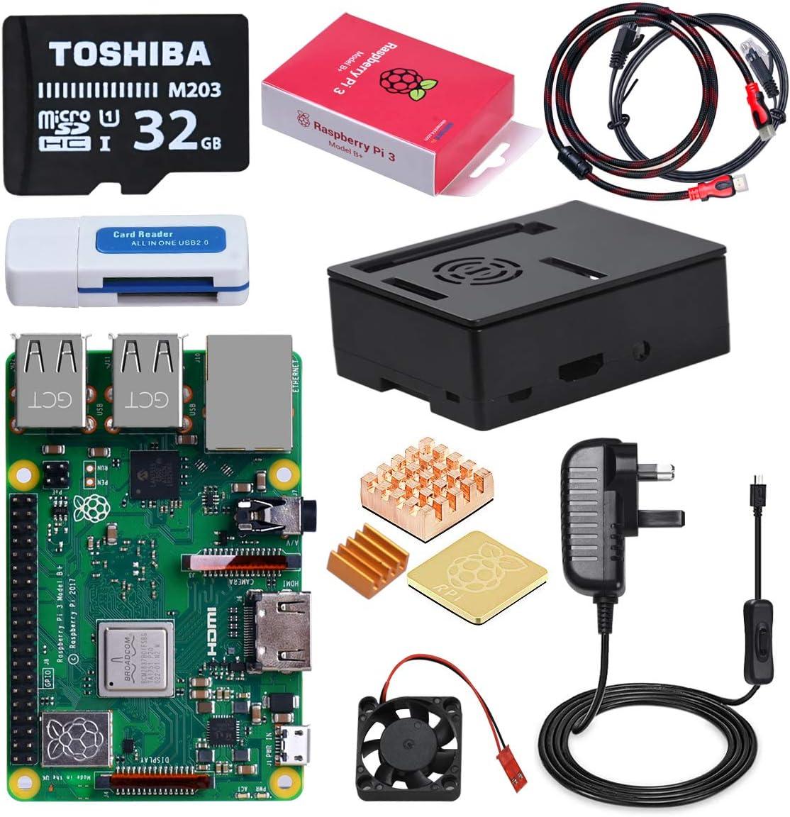 DINOKA Raspberry Pi 3 B+ Starter Kit con Micro SD de 32GB Clase 10, 5V 2.5A Adaptador de Corriente con Interruptor, 3 Radiadores, Cable HDMI, Caja de Calidad, Lector de Tarjetas, Retículo