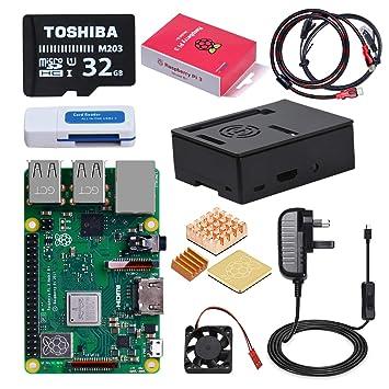 DINOKA Raspberry Pi 3 B+ Starter Kit con Micro SD de 32GB Clase 10, 5V 2.5A Adaptador de Corriente con Interruptor, 3 Radiadores, Cable HDMI, Caja de ...