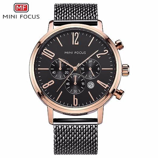 SJXIN Reloj Elegante Mini Focus/Reloj para Hombre/Reloj de Cuarzo/Calendario Impermeable/Banda de Malla metálica/Directo de fábrica 0183G Relojes de Moda ...