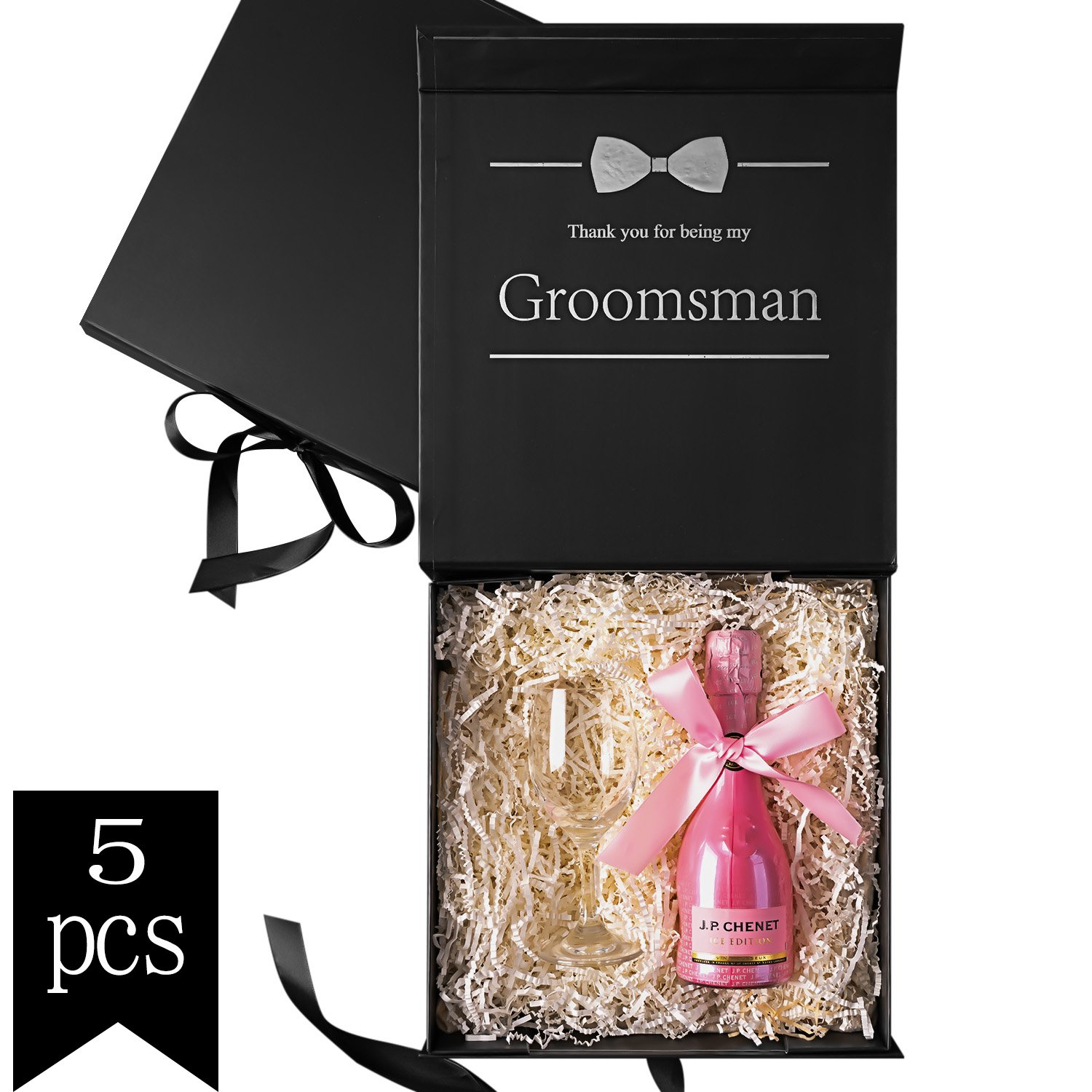 Crisky Groomsman Gift Box with Silver Foiled Text | Set of 5 Empty Boxes | Perfect for Will You Be My Groomsman gift and wedding present