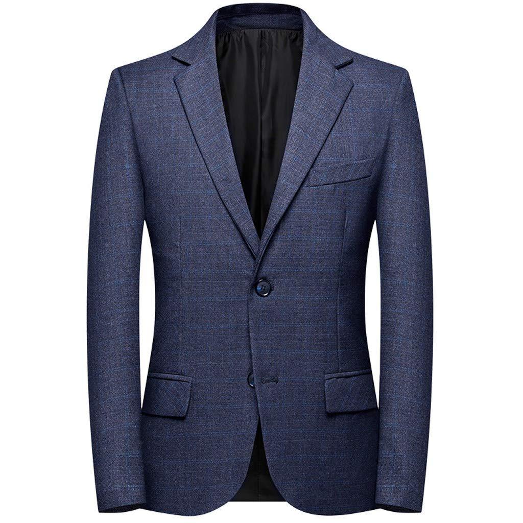 Fauean Casual Long Sleeve Plaid Men's Lapel Slim Fit Elegant Blazer Coat for Men Formal Fashion Modern Business Suit by Fauean Clothing