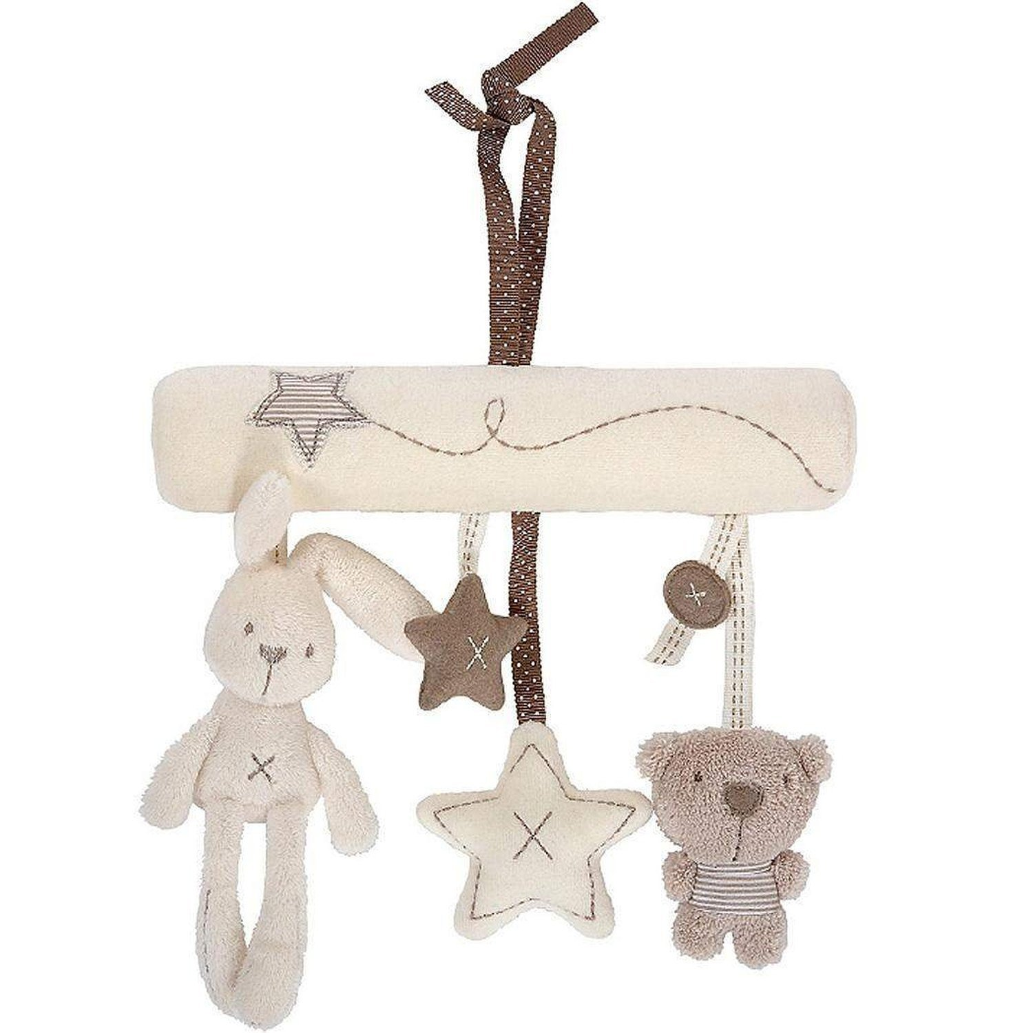 Rabbit Bear Plush Musical Crib Stroller Toy Baby Pram Rattle Hanging Animal Toys