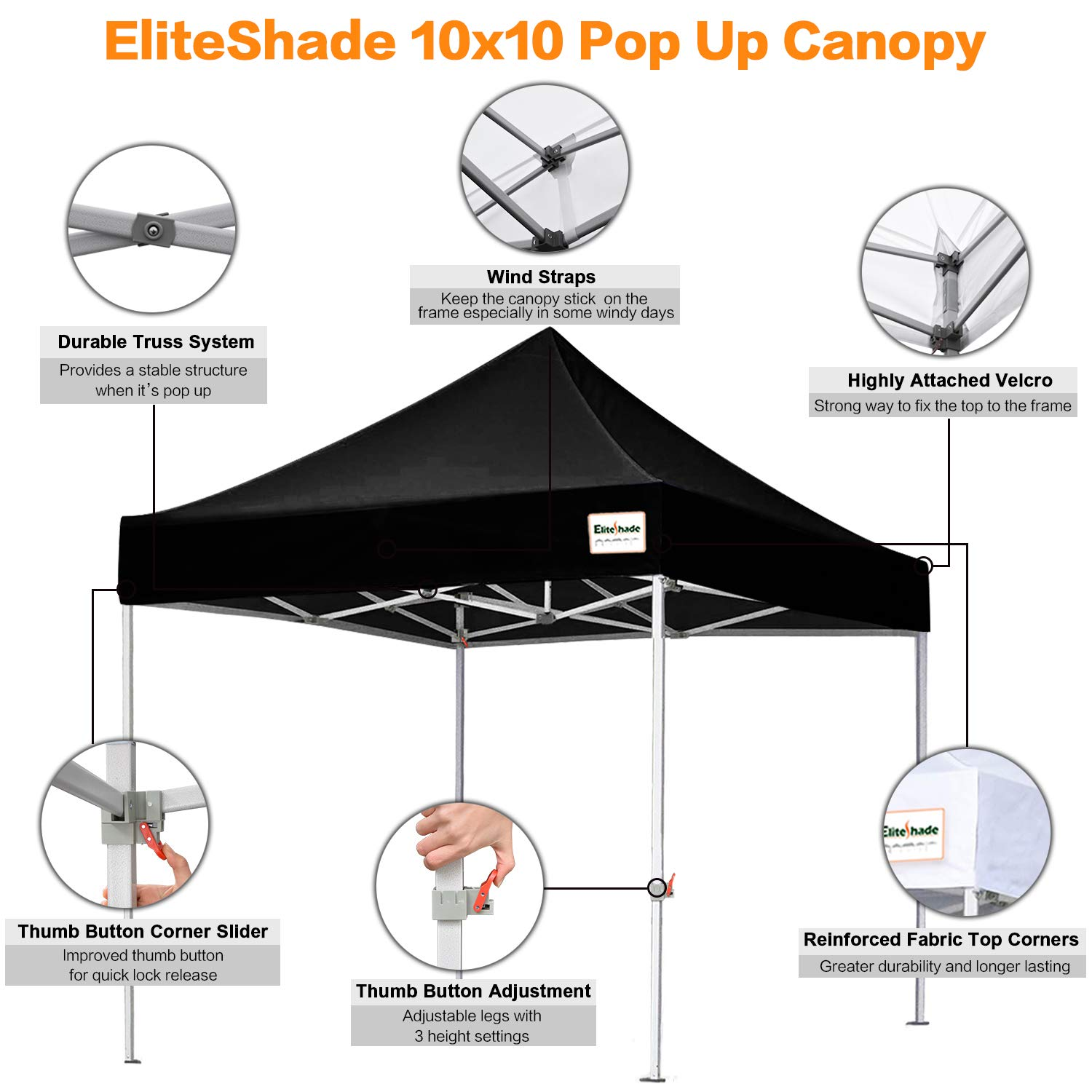 Eliteshade 10x10 Commercial Ez Pop Up Canopy Tent Instant Canopy Party Tent Sun Shelter With Heavy