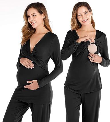 EVELIFE Pijama de Lactancia Invierno Ropa Premamá Embarazadas Algodón Mangas Largas Top y Pantalones Conjunto de Maternidad