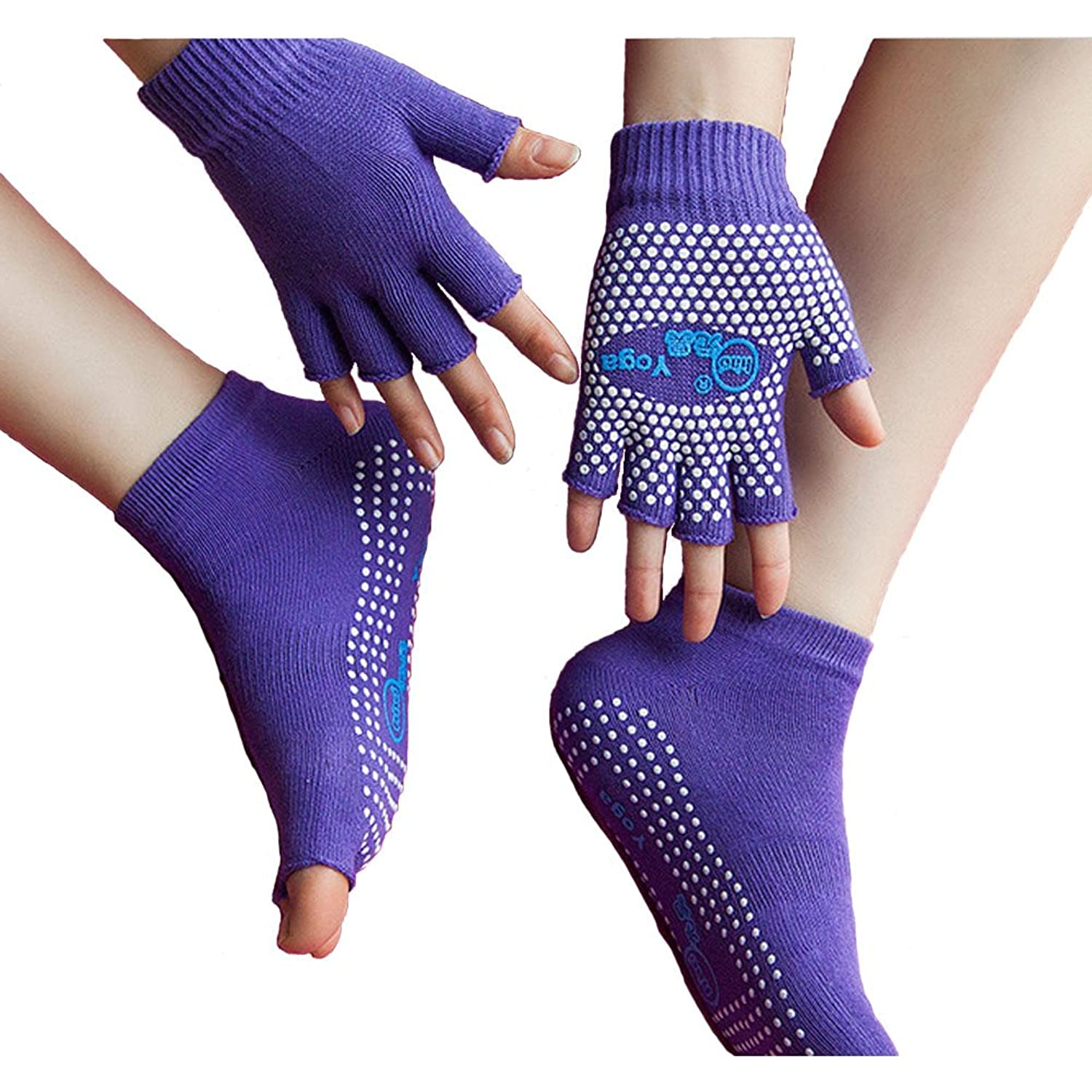 Jenny Shop Toeless Yoga Socks and Gloves Set, Non Slip Grip with Silicone Dots
