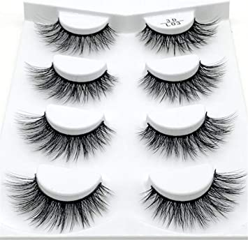 a55b09ec781 Amazon.com : 1/7 /4/2Pairs 3D Mink Lashes Natural Long False Eyelashes  Dramatic Volume Fake Lashes Makeup Eyelash 4 pair L03 : Beauty
