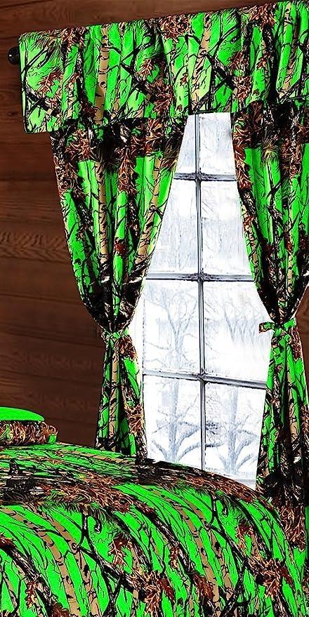 Amazon.com: The Woods Bio Hazard Green Camouflage 5pc Curtain Set by ...