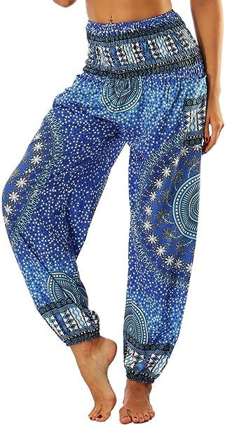 GLUDEAR Womens Smocked Waist Harem Hippie Boho Yoga Palazzo Casual Pants
