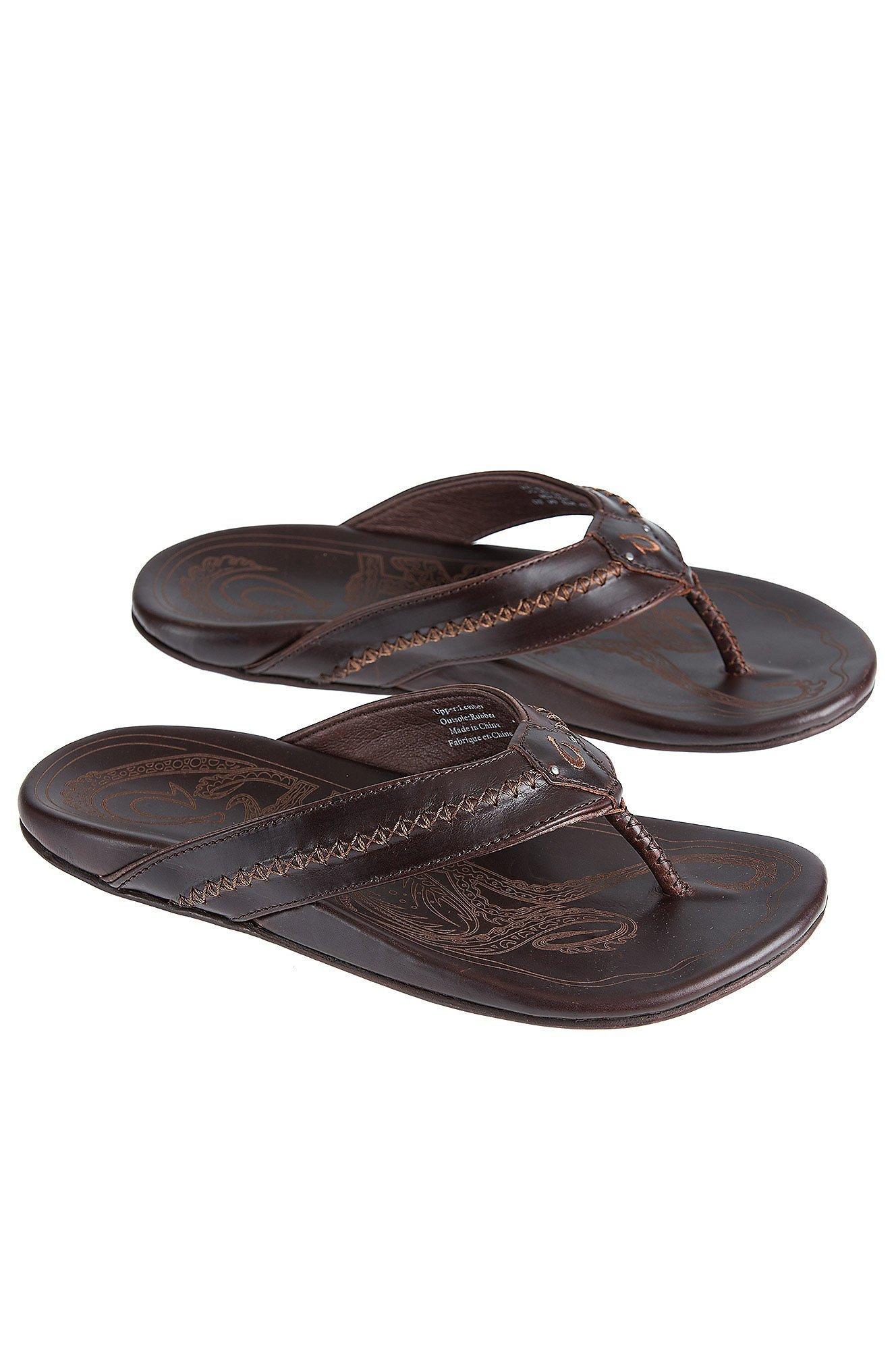 Men's OluKai Mea Ola Leather Sandals, DARK JAVA/DARK JAVA, Size 14