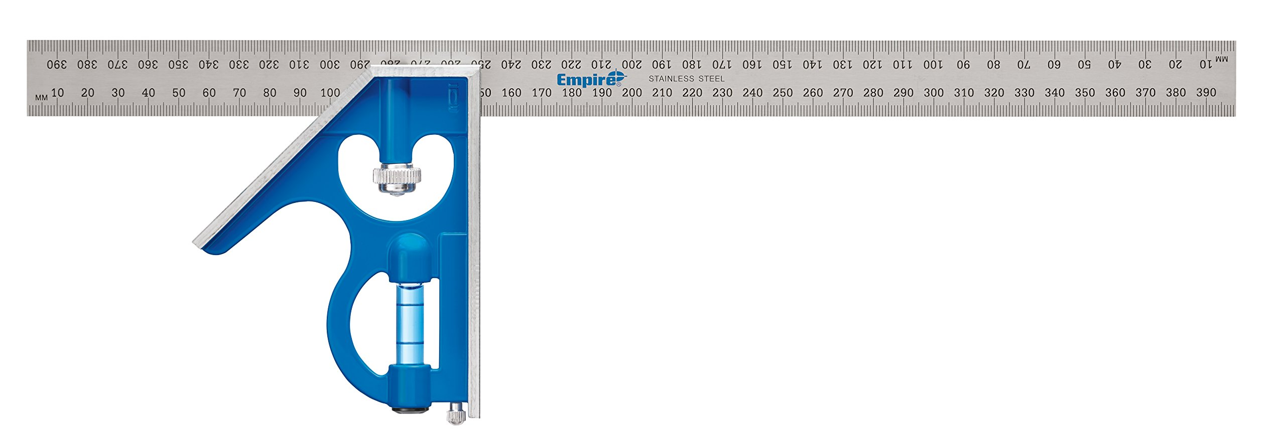Empire Level E280M 16-Inch Heavy Duty Professional Combination Square With Etched Stainless Steel Blade, Metric Graduations and True Blue Vial
