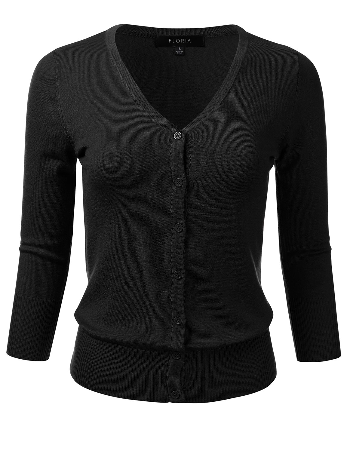 FLORIA Womens Button Down 3/4 Sleeve V-Neck Stretch Knit Cardigan Sweater Black M