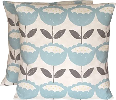 CUSHIONS2U 2 x 16 Clarke & Clarke Duck Egg Blue Grey Cream Floral Cushion Covers
