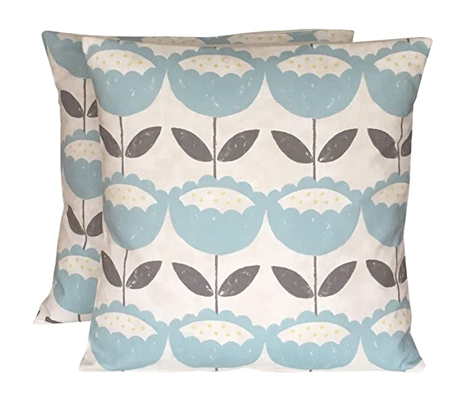 NEW SPECIAL DESIGN Flora Flower duck egg blue CUSHION COVER with lace Ribbon