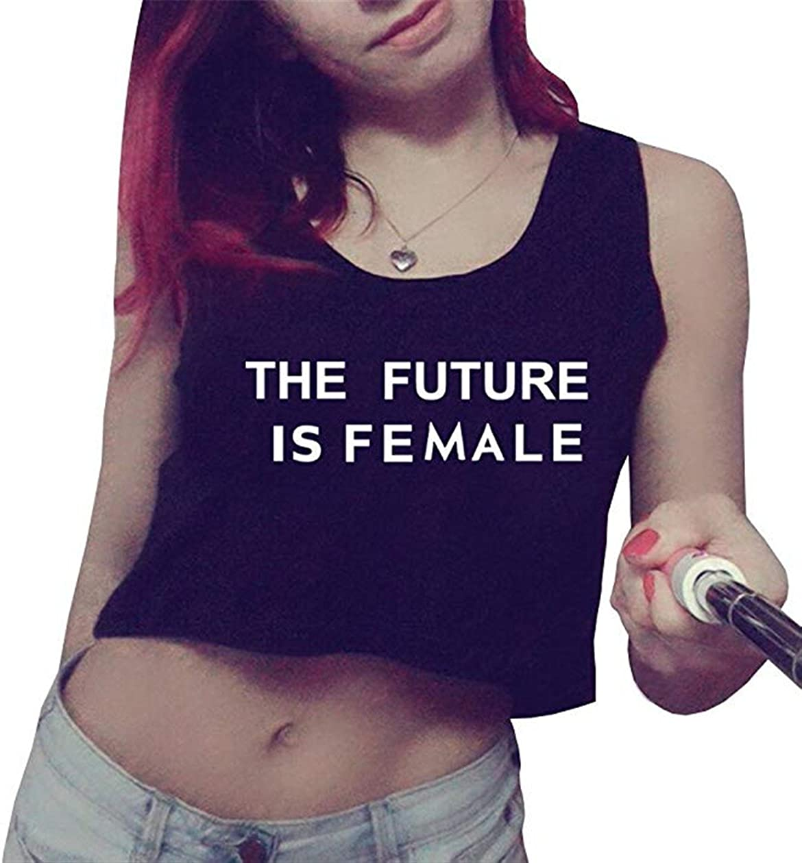 The Future is Female Women Graphic Crops Top Cute Gym Tanks