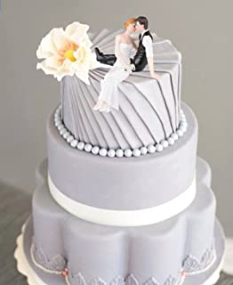 Amazon.com: Vintage White and Silver Bride and Groom Wedding Cake ...