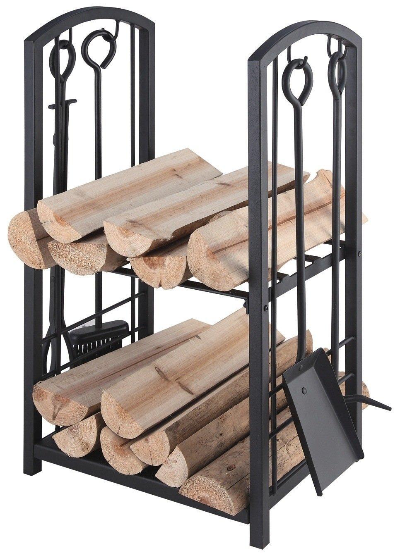 LIE Holzkorb mit Kaminbesteck